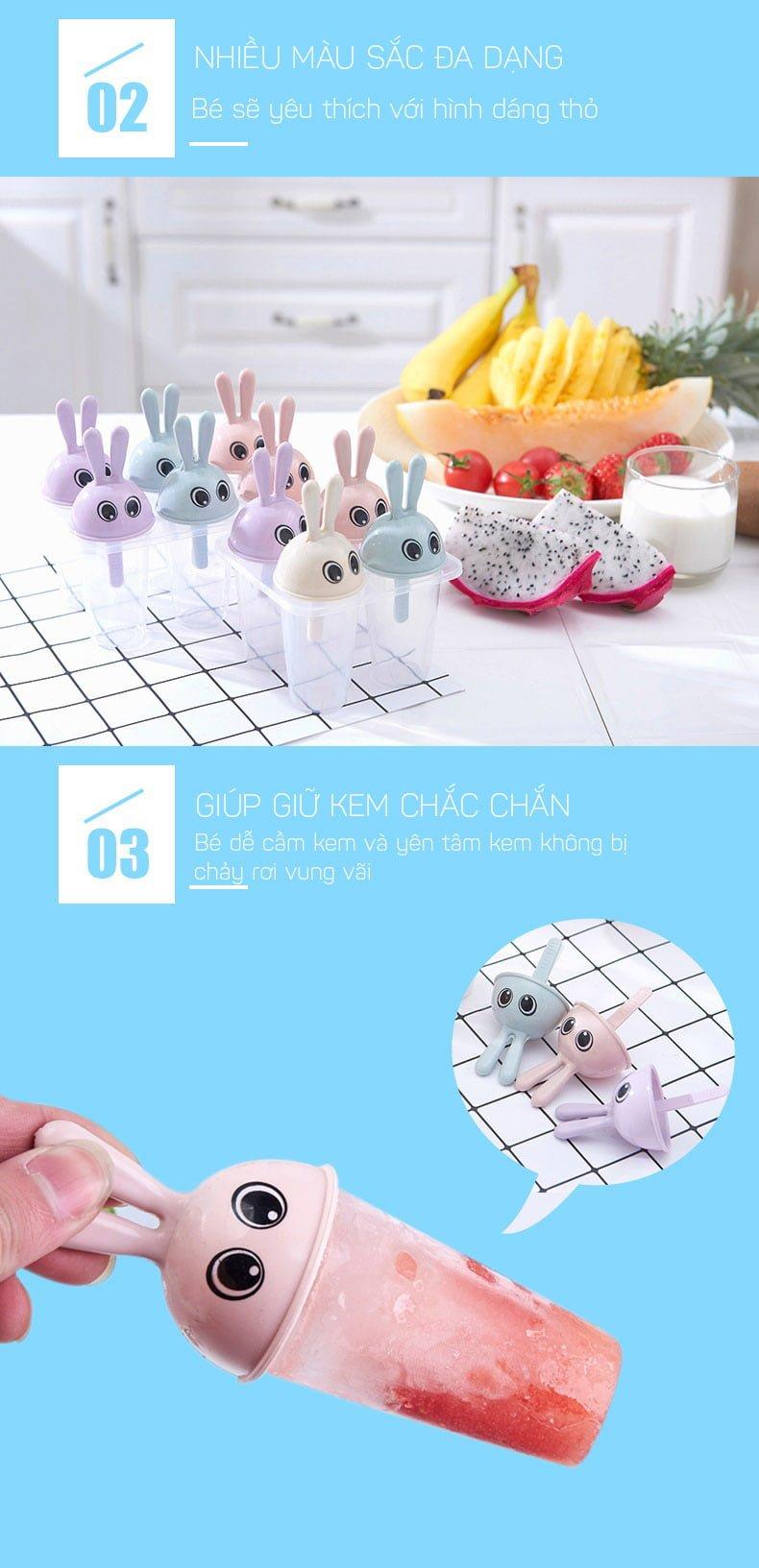 Khuôn làm kem hình thỏ THome RBN06 giá rẻ6